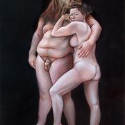 Blind Minotaur led by a girl in the Night 2012 Öl auf Leinwand 200 x 140 cm