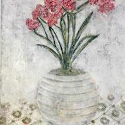 Blumenvase 1 2020 Paraffin und Öl auf Papier 40 x 40 cm