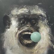 MONKEY GREEN BULLET 2019  Öl auf Leinwand 35 x 35 cm