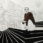 Wie wir leben wollen 6 2017 Paraffin und Acryl auf Pappe  70 x 100 cm