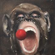MONKEY RED BULLET 2018  Öl auf Leinwand 30 x 30 cm