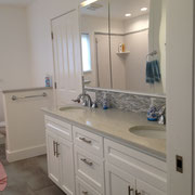 Contemporary vanity.  Lighted mirror cabinet also build by Kegg's Kreations.