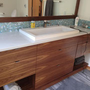Sleek, contemporary walnut vanity.  Cabinet pulls provided by Kegg's Kreations.