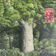 'Kauri Post 1',160 x160mm, oil on canvas