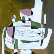 Le dîner, 2017, acrylique sur toile, 73 x 60 cm.