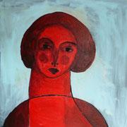 Portrait rouge, 2019, acrylique sur toile - 40 x 40 cm.