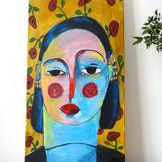 Portrait au papier peint, 2019, acrylique sur toile, 25 x 50 cm. VENDUE/SOLD
