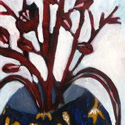 le bouquet rouge, 2018, acrylique sur toile, 40 x 20 cm.
