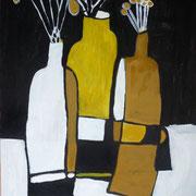 bouteilles blanche, noires et ocres, 2017, acrylique sur toile, 73 x 60 cm.
