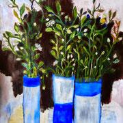 Trois vases bleus et blancs, 2014, acrylique sur papier, 50 x 60 cm.