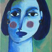 Portrait bleu sur fond vert, 2019, acrylique sur toile, 20 x 40 cm.