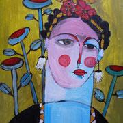 Frida Kahlo II, 2018, acrylique sur toile, 38 x 46 cm.