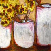 Bouquet de mimosas, 2016, acrylique sur toile, 40 x 50 cm.