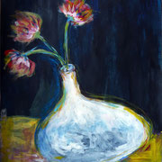 Le vase blanc, 2015, acrylique sur papier, 50 x 65 cm.