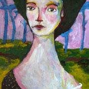 Femme aux cheveux verts, 2014, acrylique sur medium, 34 x 48 cm.
