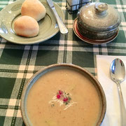 Roasted butternut squash soup-freshly prepared rolls-butter