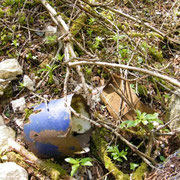 Reste eines Blechbechers. Noch gut erkennbar die Emailleschicht