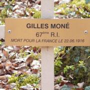 Kreuz des am 22.06.16 hier gefallenen Gilles Moné, 67. Infanterieregiment