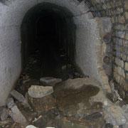 Blick in den Osteingang - nur noch erahnbar die Reste des Gleisbettes im hinteren Teil