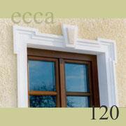 """ecca Bild 120: Detail: Fensterfasche mit """"Ohrenausbildung"""" und Schlussstein"""