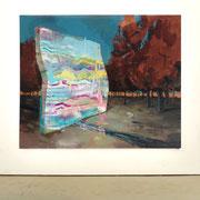 """Alegrías del incendio, oil on canvas 200x245cm. London 2013 (+42° 41' 12.95"""", -7° 27' 14.40"""") 15 March 2004. 10 35 pm."""