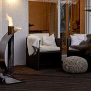Feuersegel: mobile Feuerstelle, die an kühleren Abenden auch Ersatz für Terrassenheizung sein kann