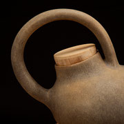 Hand-thrown porcelain tea pot with bamboo lid 2013