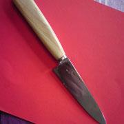 K2.) Küchenmesser aus C70, gesamtlänge 23cm, Klinge11cm,stärke:2,2mm auf 0 ausgeschliffen,Griff: rotes Vulkanfieber und Fliederholz