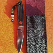 Nr.20/12,gentleman knife,Stahl 75CR1, gesamt 12cm, Klinge 5,7cm , 3,8mm stark, Griff :poliertes Wasserbüffelhorn,Mosaik pin