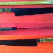 Nr.) 3-2014, Wolframstahl, Klingenlänge 23cm,Klinge geätzt,  Echtcarbon und stab. holz