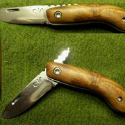 """S6,"""" Friktion Folder"""", Stahl: 1.2842 , gesamt: 13,2cm, Klinge 5,5cm, 2,1mm stark,Griff:Pflaumenholz"""