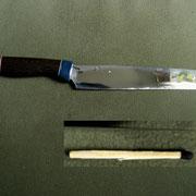 Nr.8/11. Küchenmesser, Stahl 1.3505, Klingenlänge 19cm, extrem dünn ausgeschliffen