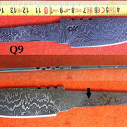 Nr.)Q9  Damaststahl eigene Herstellung