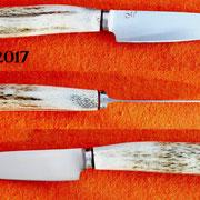 Nr.) 1-2017, Küchenmesser, Hirschhorn, c60Stahl