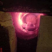 Die Walzen werden auf Schmiedetemperatur gebracht, ca. 950C°