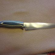 300.) Küchenmesser, Stahl: 440B, gesamt: 27cm,Klinge 14,6,cm, 3mm stark, Griff: blau/weißes Pockholz