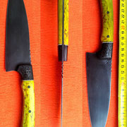 Nr.15-2013, Küchenmesser mit stabilisiertem Holz und Echtcarbon