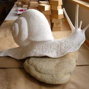 Und schon kriecht die Napf-Schnecke aus Giluform-Giesskeramik das erste Mal über den Napf.