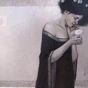 sucrerie - huile sur bois - 46 cm x 46 cm