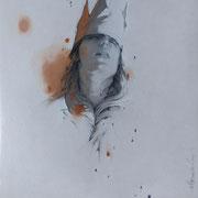 petite reine #1 - huile sur bois - 30 cm x 30 cm