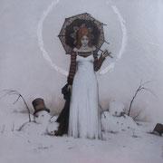 hivernale - huile sur bois - 70 cm x 70 cm