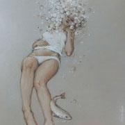 caresse - huile sur bois - 50 cm x 50 cm