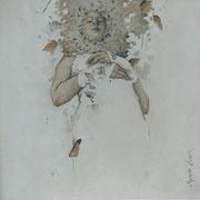 endormie - huile sur bois - 30 cm x 30 cm