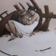 rescapées - huile sur bois - 92 cm x 60 cm