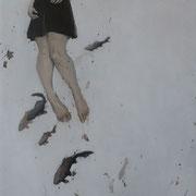 tango de lune -huile sur bois - 100 cm x 60 cm