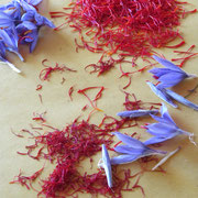 The stigmas of the saffron flower used to flavor many foods.150 flowers give 1 gram of saffron