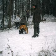 Treibjagd 2000 mit Yommi vom Donaueck und erlegten Fuchs