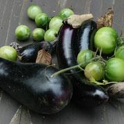最後の夏野菜。トマトはピクルス、ナスは揚げ物。