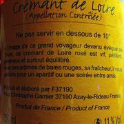 Crémant de Touraine rosé de Christophe Garnier, suite