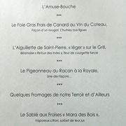 Menu en 5 services à 68 € 00 (ou à 56 € 00 en 4)